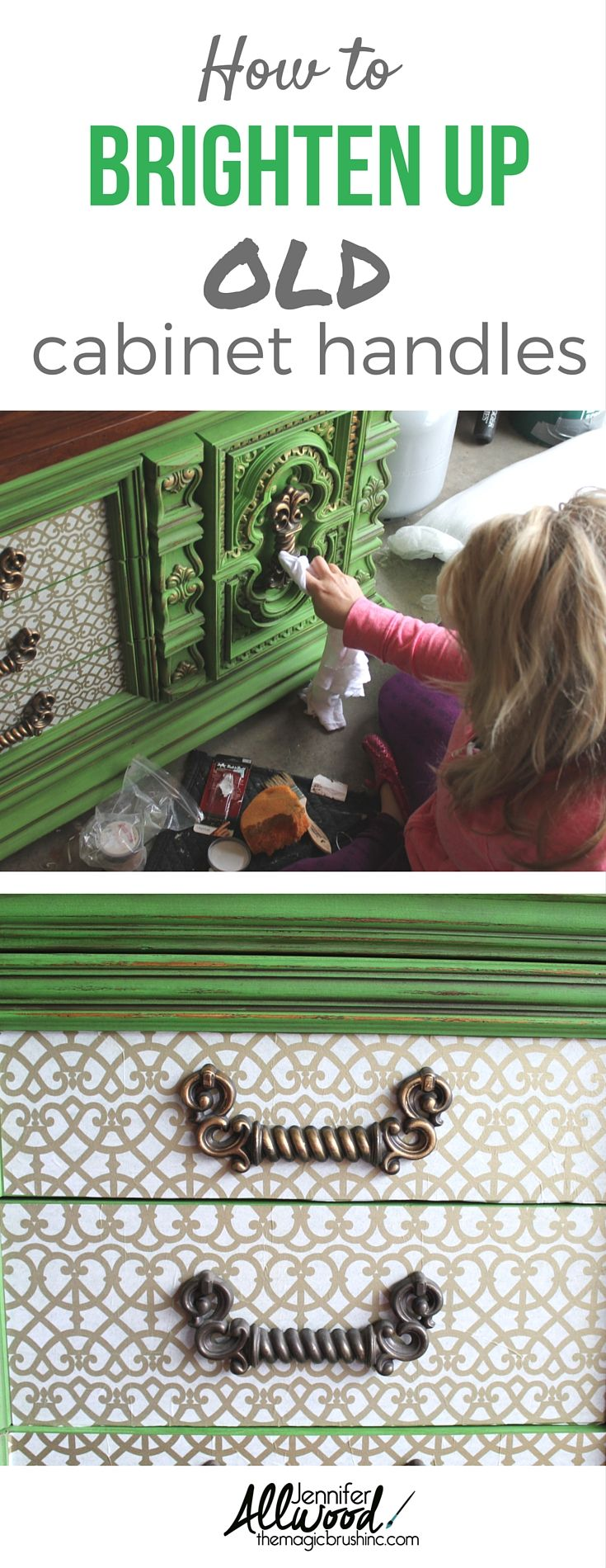 Here's how to brighten up old, dingy cabinet handles using Rub and Buff. It's a great hack for your DIY furniture makeovers. More decorating projects, painting tips, and color advice at theMagicBrushinc.com