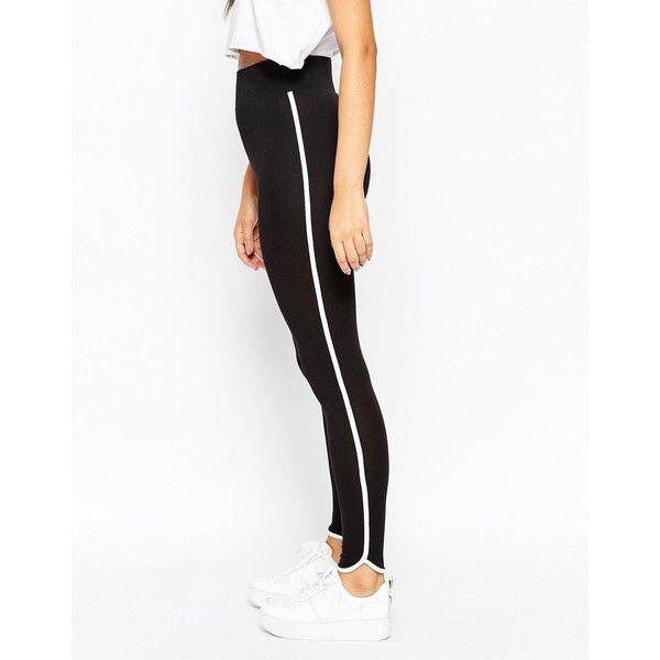 ASOS Leggings with Contrast Binding (415 ZAR) ❤ liked on Polyvore featuring pants, leggings, black, black trousers, high waisted black trousers, asos, high rise black leggings and black elastic waist pants