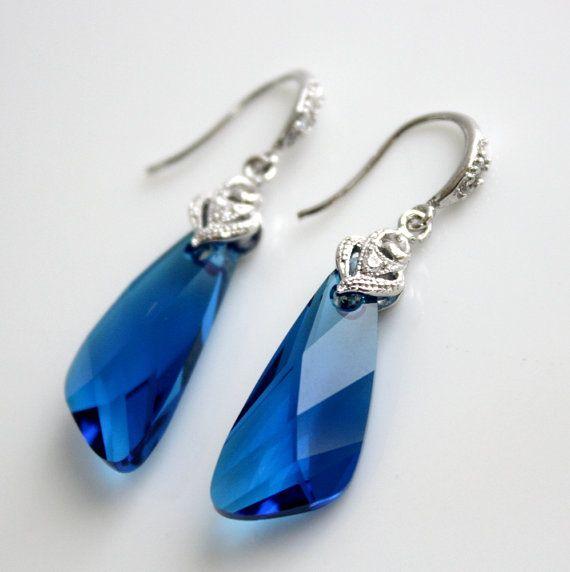 Fülbevaló Swarovski Elements #6690 Szárny medálból Capri Blue színben