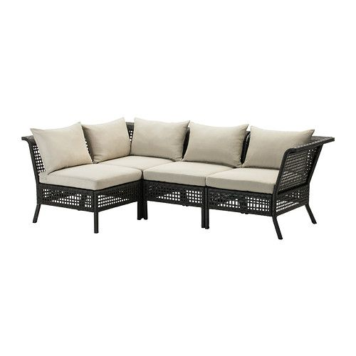 Kungsholmen h ll 4 seat sectional outdoor black brown for Ikea outdoor sofa