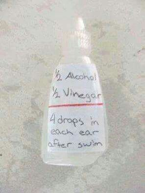 Swimmers Ear alcohol dries and vinegar kills bacteria.
