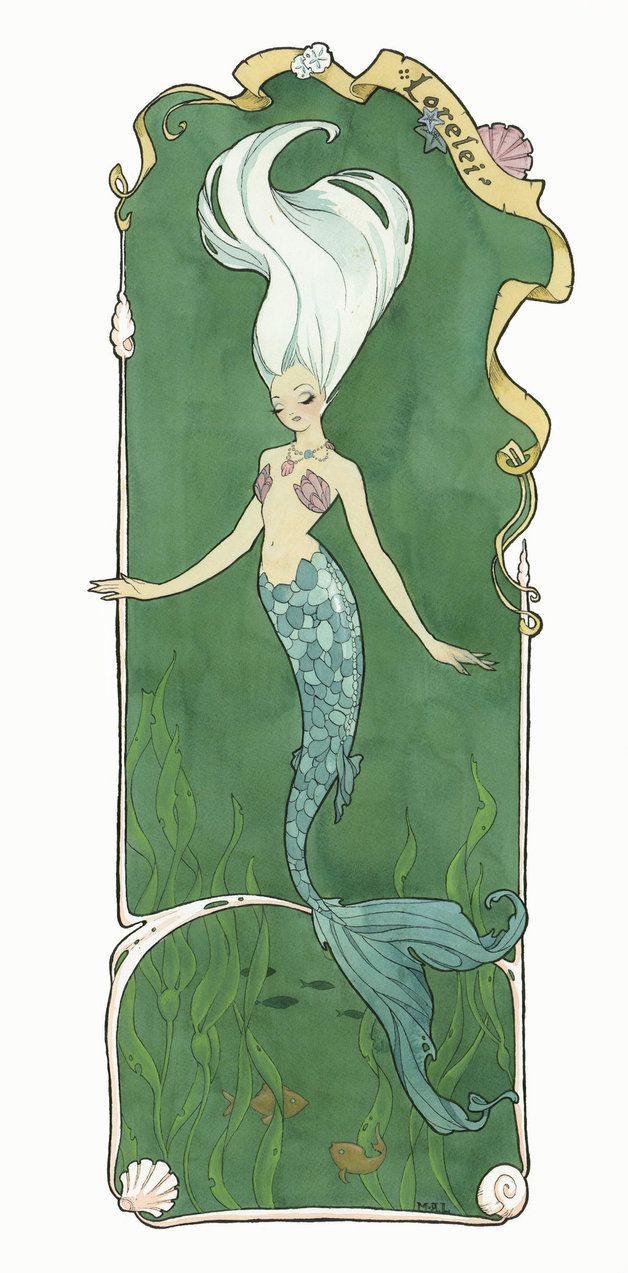 Lorelei. She was once human, but after being spurned by a faithless lover she threw herself from a cliff into the sea, where she was transformed. I am uploading her again because this one is a high...
