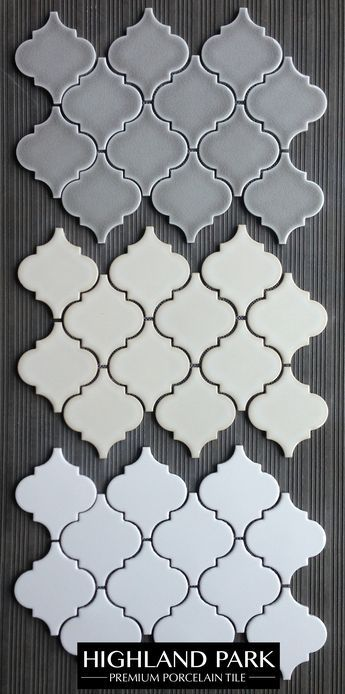 """$11.25 a Square Foot. Highland Park Arabesque Porcelain Mosaic Tile. Perfect for a kitchen backsplash or a feature wall. This incredible porcelain mosaic comes with a collection of 3x6"""" Subway Tiles, pencils, chair rail and other mosaic formats."""