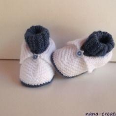 """Chaussons, chaussettes pour bébé en laine layette tricotés main """"blanc, bleu """"naissance à 3 mois"""