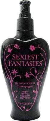 Sexiest Fantasies for Women Strawberries and Champagne Body Spray, 7.35 Ounce by Parfums De Coeur. $7.35. Sexiest Fantasies Perfume for Women Strawberries & Champagne Longest Lasting Fragrance Body Spray 7.35 Oz / 217 Ml. Packaging for this product may vary from that shown in the image above. We offer many great sales and discounts making this fragrance cheaper than at department stores.. Strawberries & Champagne Longest Lasting Fragrance Body Spray 7.35 Oz / 217 Ml...
