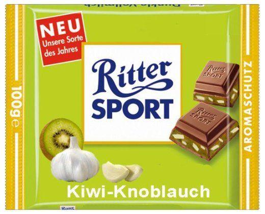 RITTER SPORT Fake Schokolade Kiwi-Knoblauch