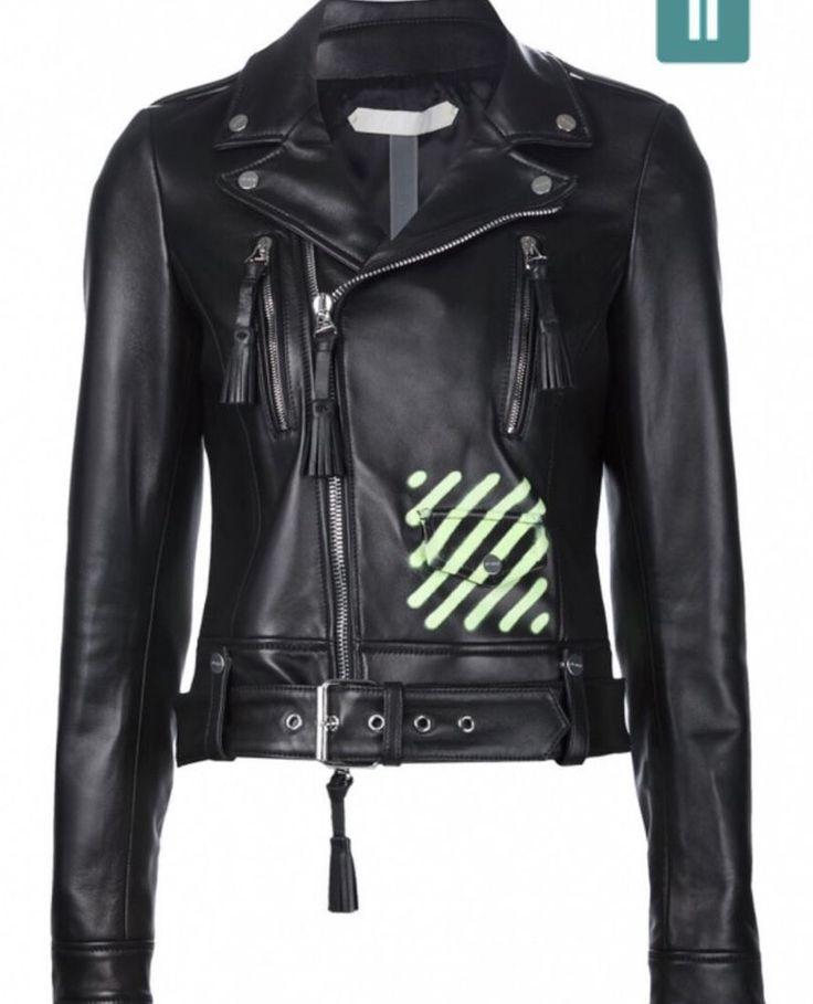 off-white c/o virgil abloh neon stripes womens leather jacket     eBay