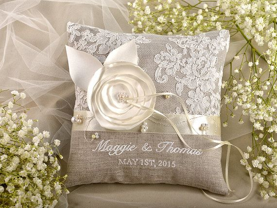 Lace Wedding Ring Pillow,  Ring Bearer Pillow Embroidery Names, shabby chic natural linen