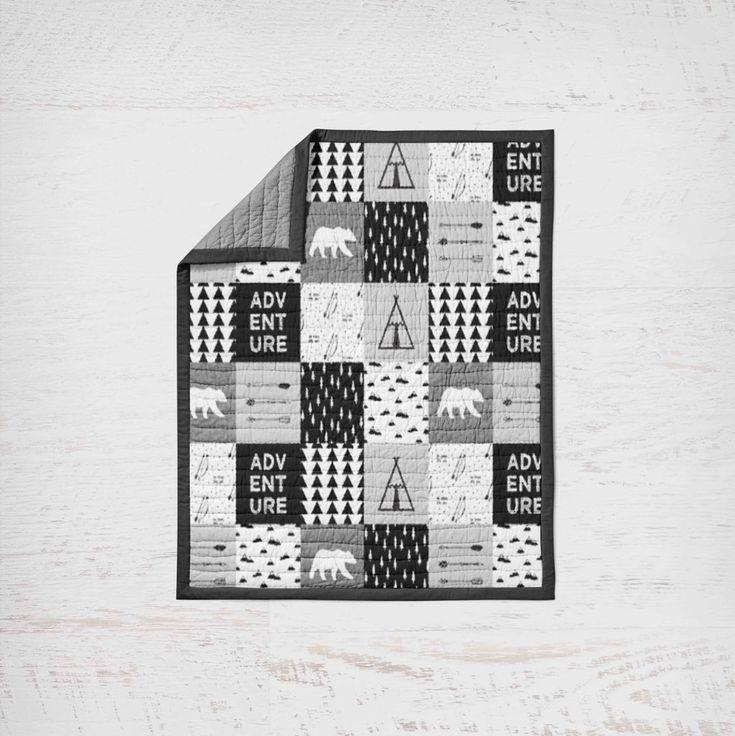 Black and White Blanket - Woodland - Baby Blanket - Black White Blanket - Custom Blanket - Toddler Blanket -  Modern Blanket - Baby Gift