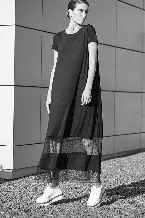 Купить ПЛАТЬЕ ШИРОКОЕ  с сеткой из коллекции «Resort 2016» от Lesel (Лесель) российский дизайнер одежды