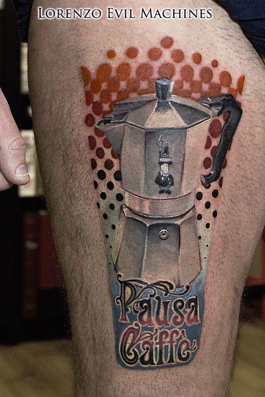 Italian Style - Coffee Moka Bialetti - Realistic Colour Tattoo by Lorenzo Evil Machines - Roma - Italia - Tatuaggi Realistici