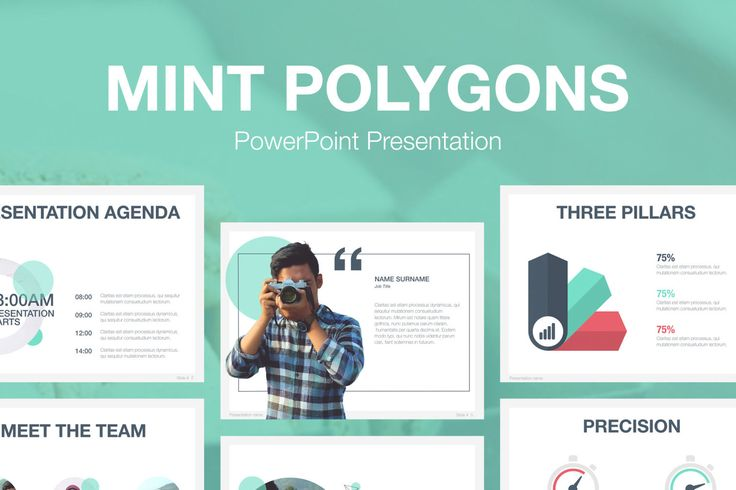 Mint Polygons PowerPoint Template by Jumsoft on Envato Elements