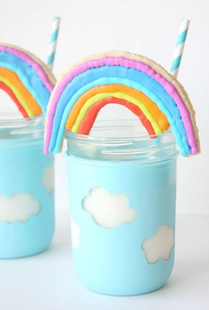 Munchkin Munchies: Rainbow Cookies n' Milk in Cloud Jars