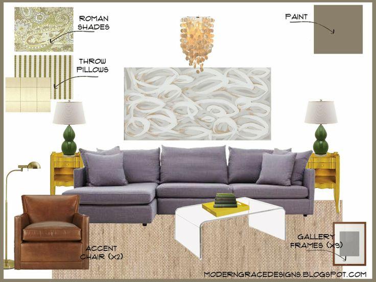 Family Room Interior E*Design Board via moderngracedesigns.blogspot.com