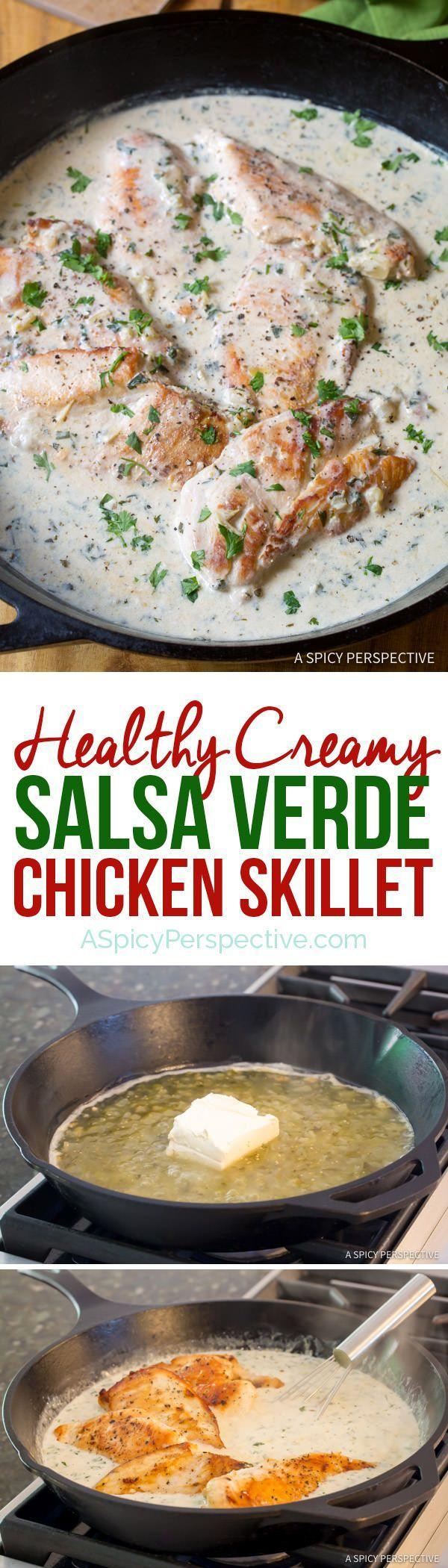 Crazy over this Healthy Creamy Salsa Verde Chicken Skillet Recipe | ASpicyPerspective.com