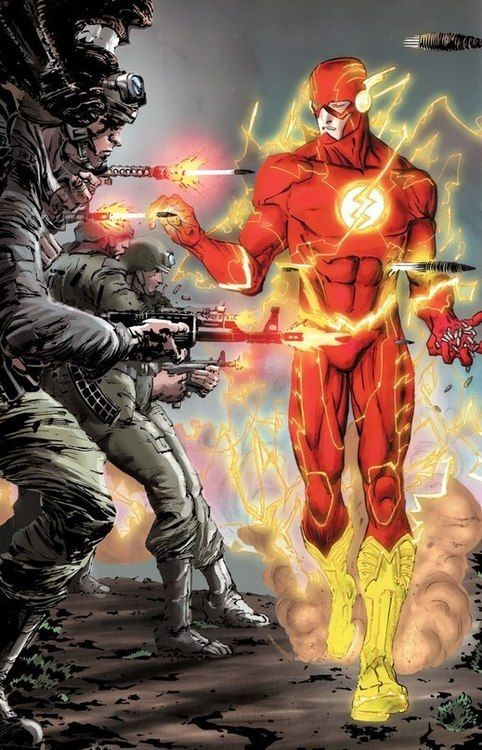 The Flash plucking bullets out of the air... bringing peace between the ticks of a clock.