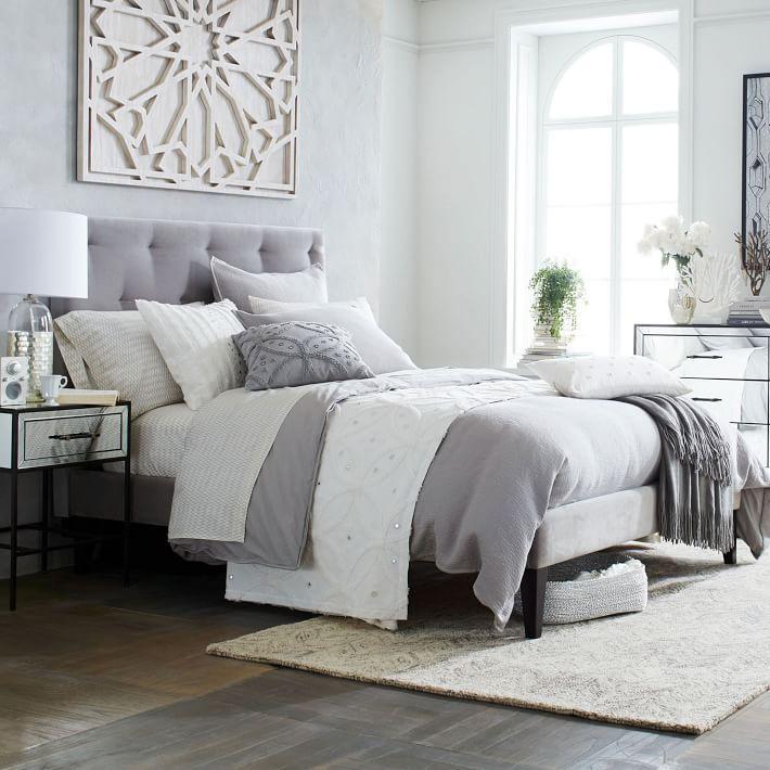 Estrecho Estructura de cama tapizada Pierna - Dove Gray