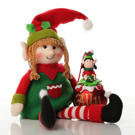 Chica elfo Shelf Sitter y paquete de adorno