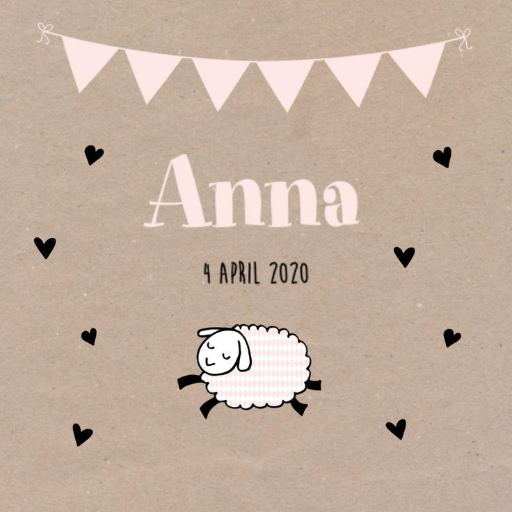 Dieren op je geboortekaartje zijn altijd een goed idee. De slinger, hartjes en de kraft achtergrond maken het kaartje helemaal af. #geboortekaartje #kraft #birthannouncement