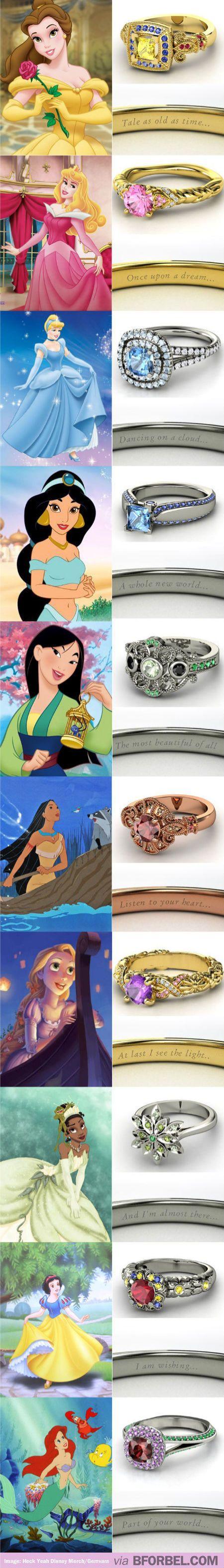 Disney Princess Inspired Wedding Rings… Love Cinderella's!