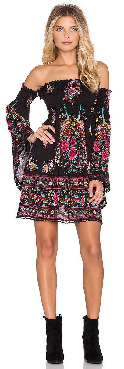 Fleetwood Mini Dress - Bohemian off the shoulder Long Sleeve DressSleeve Style…