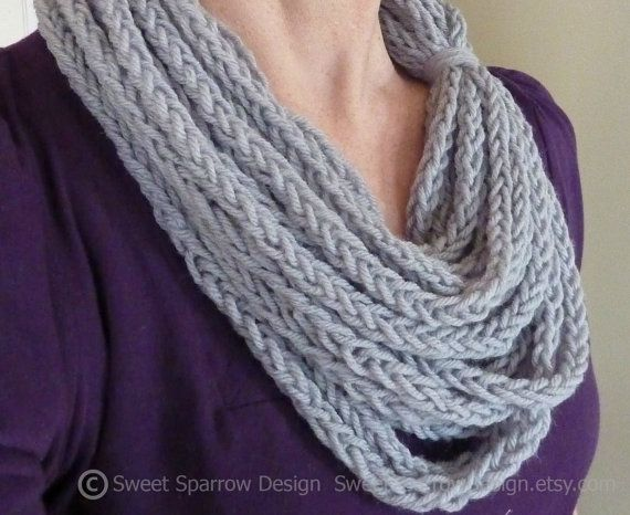 Love this! Soft Gray Hand Knit String Infinity Scarf by SweetSparrowDesign, $20.00