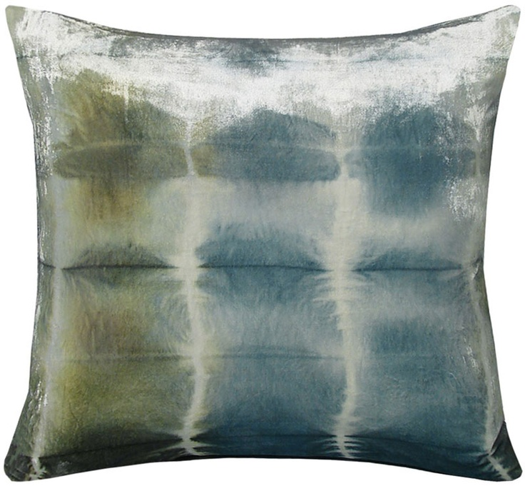"""sku:   a silk velvet pillow is inspired by an ancient japanese dyeing technique, in which the fabric is folded and tied to create a resist-dye pattern. hand dyed in nepal. color: ice. 22"""" x 22"""". please note that the tie-dye pattern on each pillow is created by hand and thus slightly different, making each piece a true one-of-a-kind."""
