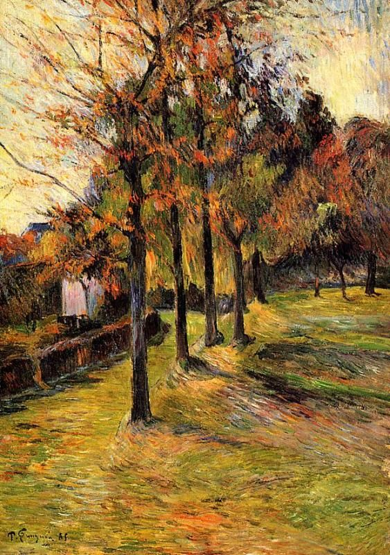 Beautiful painting! Tree linen road, Rouen - Paul Gauguin  Completion Date: 1885  Place of Creation: Déville-lès-rouen / Maromme / Déville, France  Style: Impressionism  Period: Early works  Genre: landscape  Technique: oil......one of my favorite painters!