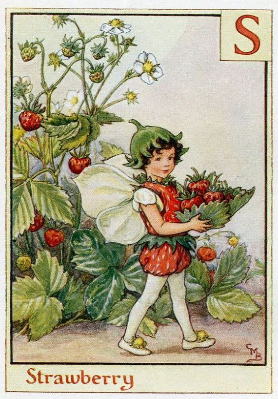 This beautiful Strawberry Alphabet Flower Fairy Vintage Print by Cicely Mary Barker was printed c.1940 and is an original book plate from an early Flower Fairy book. Cicely Barker created 168 flower fairy illustrations in total for her many books