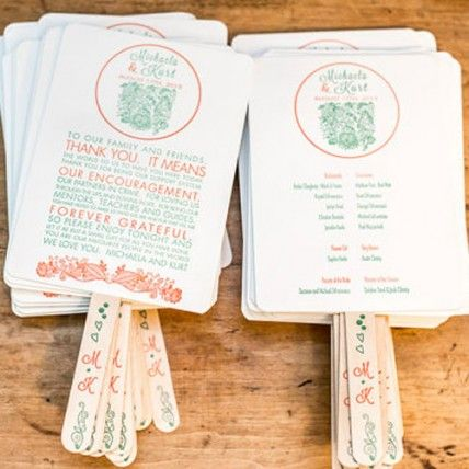 Ceremony Program Fans! this is a great 2in1... Its the wedding programme & a Fan, if your ceremony is outside in summer.