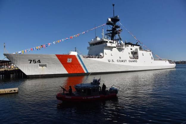 Coast Guard Cutter James, US Coast Guard Base Boston prior to the commissioning ceremony. US Coast Guard Photo  The U.S. Coast Guard commissioned its latest Legend-class National Security Cutter (NSC) in a ceremony at Coast Guard Base Boston on Saturday.  USCGC James (WMSL-754) is the second NSC to join the service's Atlantic fleet as part of a planned class of eight that will replace the 1960s era Hamilton-class high endurance cutters.