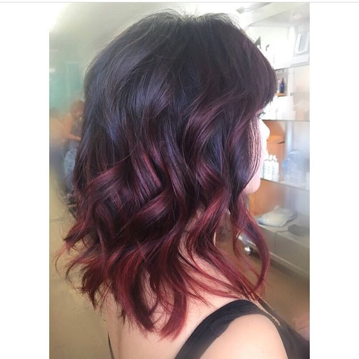 Wavy Shoulder Length Hair With Chunky Layers And Red