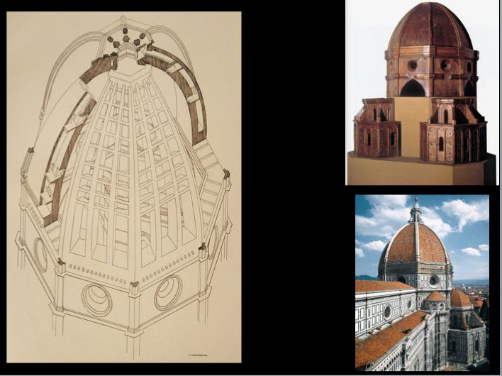 "Florence Dome: This Axonometric View nicely separates the working components of the Florence Dome. Although it does not completely reveal the hidden secrets of its construction, the link above talks more about its ""Fish Bone"" masonry work that helped create this egg Shape dome structure. Immaculate for its time and place, this Dome is a true wonder for architectural engineering."