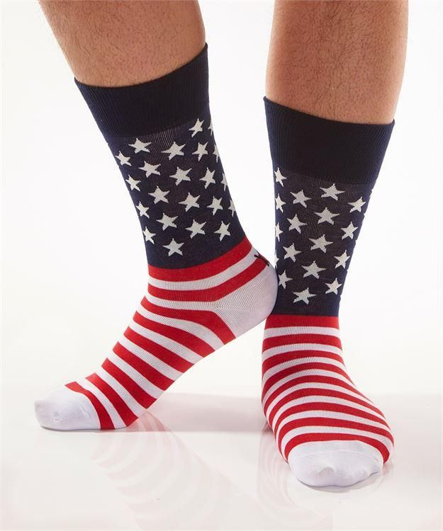 Yo Sox Star Spangled Banner, American Flag Cool Funky Men's Crew Socks for Dress or Casual Wear Size 7-12