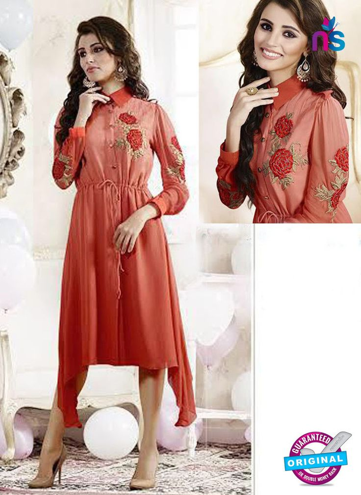 SC 13173 Red Party Wear Embroidered Georgette Tunic