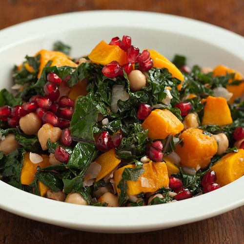 ginger-lime kale with squash and chickpeas
