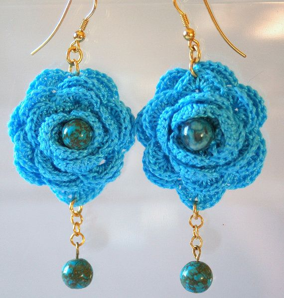 Blue crochet earring Crochet earring jewelry Large by lindapaula, €12.00