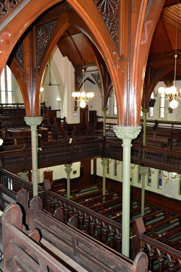 The view from the Gallery at Albert Street Uniting Church, Brisbane. The gallery is rarely open to the public. It is used during special concerts and events.