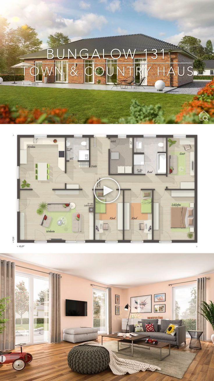 Maison de campagne bungalow 5 chambres maison massive construction moderne avec clinker ...