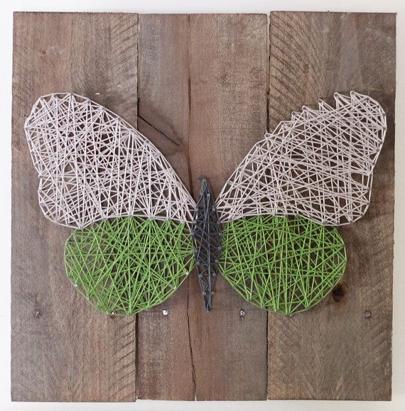 String Art Butterfly on reclaimed wood canvas by ElevenOwlsStudio