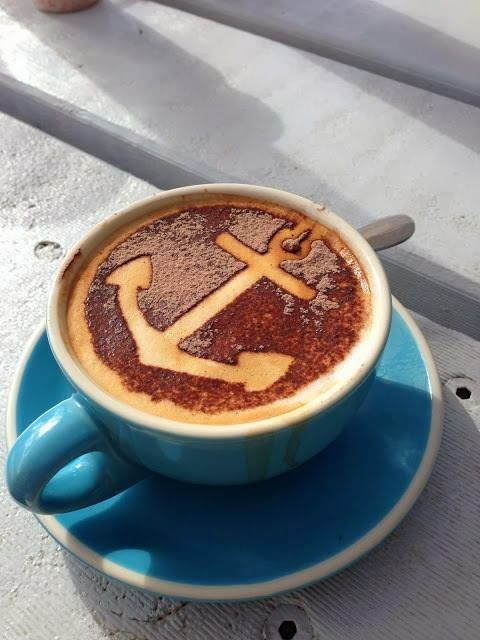 """I seriously want to travel all the way to Australia JUST to have one of these adorable latte's with the anchor!!! It's at a super cute beachside restaurant called """"The Boat House"""""""