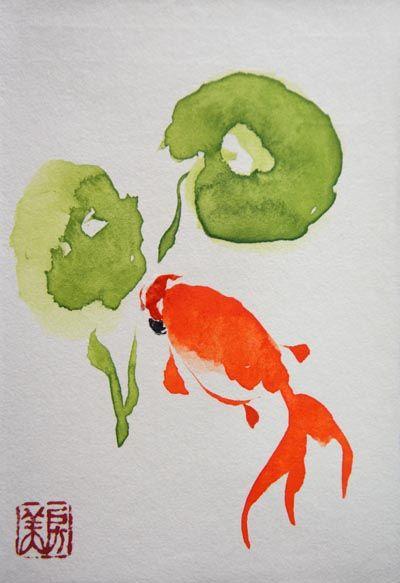 金魚 - ノースグリーンの森 (墨彩画)Summer sumi-e