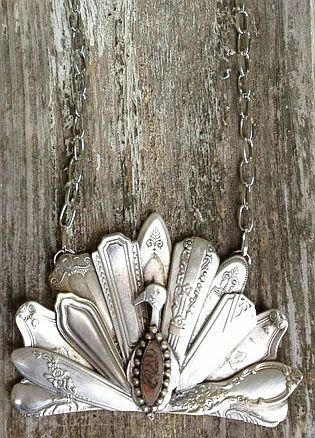 Upcycled Vintage Spoon: Peacock Pendant by Julie's Junquetique, via Etsy.