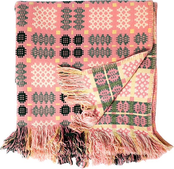 Vintage Welsh blanket  - Yellow, Pink