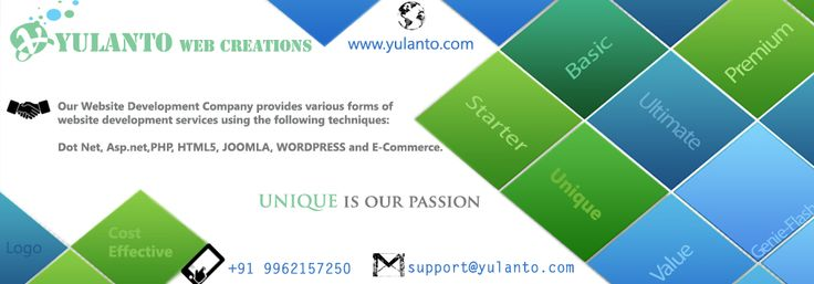 Yulanto web creations Provide Unique & Responsive web design Clean, Professional Unique Pages, Awesome Slideshows, Unique Colors & fully featured design.Just Log on www.yulanto.com