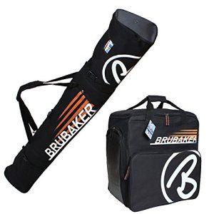 BRUBAKER Set de ski 'Champion' – Housse à skis et Sac à chaussures de ski pour 1 Paire de skis + Bâtons + Chaussures + Casque – 170 cm –…