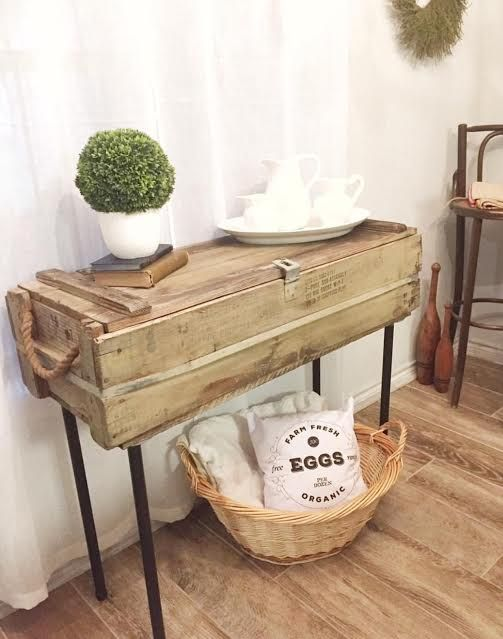 Making a Table from an Old Ammo Box is easy! All you need is the box and a few metal pieces from your local hardware store!