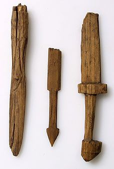 Two toy swords and toy spear 8th-9th centuries State Hermitage Museum, Museum-reserve of Staraya Ladoga