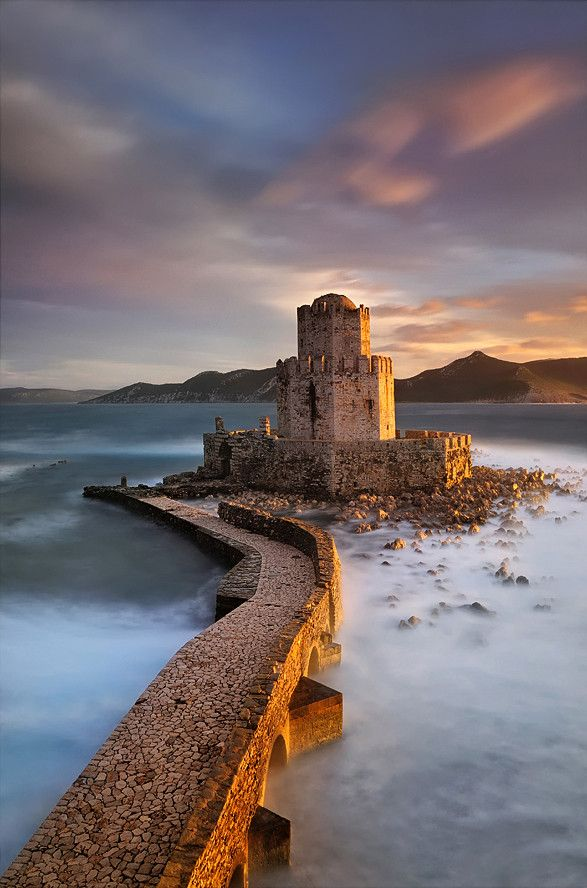 The castle of Methoni occupies the whole area of the cape and the southwestern coast to the small islet that has also been fortified with an octagonal tower and is protected by the sea on its three sides. Methoni  is a village  in Messenia, Peloponnese.