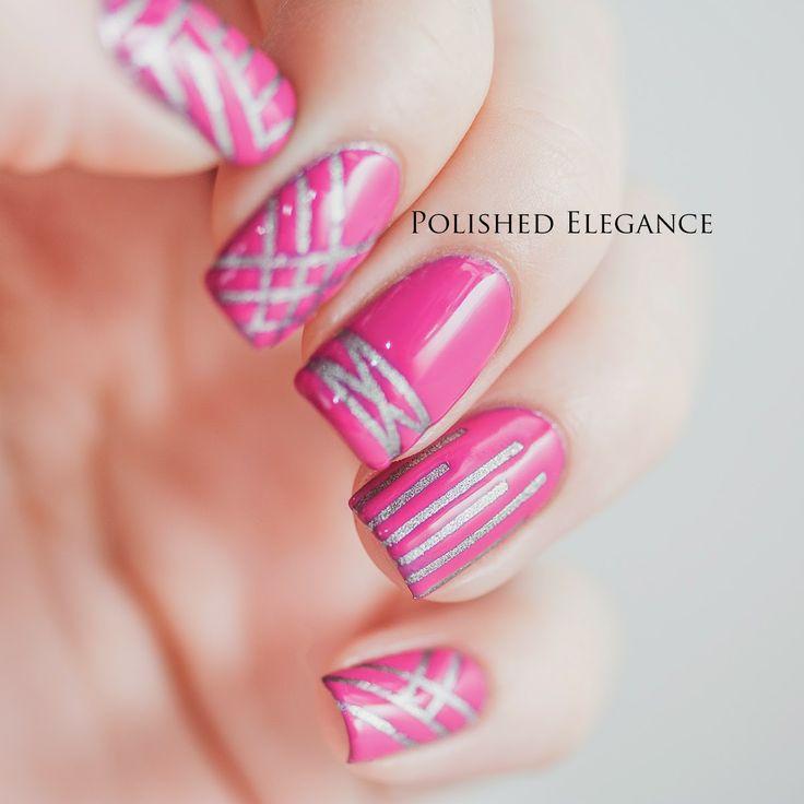 OPI - Pink Flamenco striping tape nail art manicure nail polish